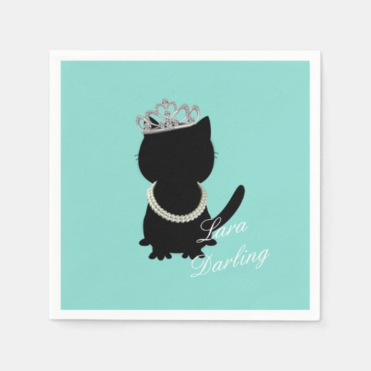 Tiara Party Teal Blue Tiffany Cat Party Napkins Disposable Napkin