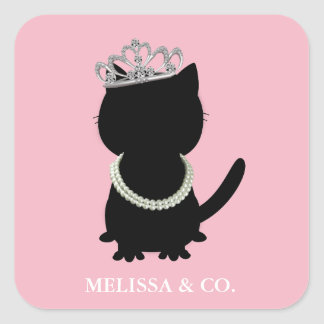 Tiara Party Tiffany Cat Shower Pink Party Stickers