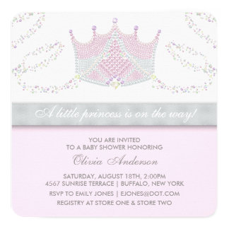 Tiara Pink Gray Princess Baby Shower 13 Cm X 13 Cm Square Invitation Card