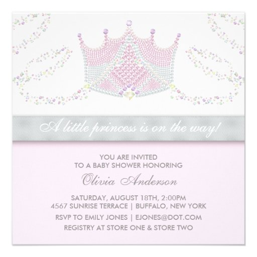 Tiara Pink Gray Princess Baby Shower Personalized Announcements