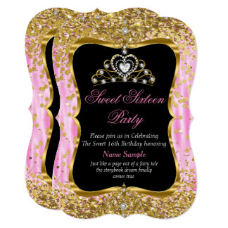 Tiara Princess Sweet 16 Pink Gold Black Invite