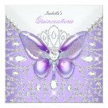 Tiara Quinceanera 15th Diamonds Purple Butterfly 13 Cm X 13 Cm Square Invitation Card