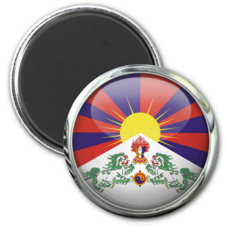Tibet Flag Round Glass Ball 6 Cm Round Magnet