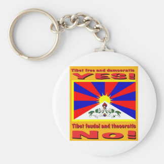 Tibet free and democratic basic round button key ring