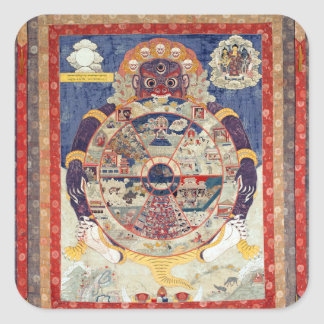Tibetan Buddhist Art Wheel of Life Square Sticker