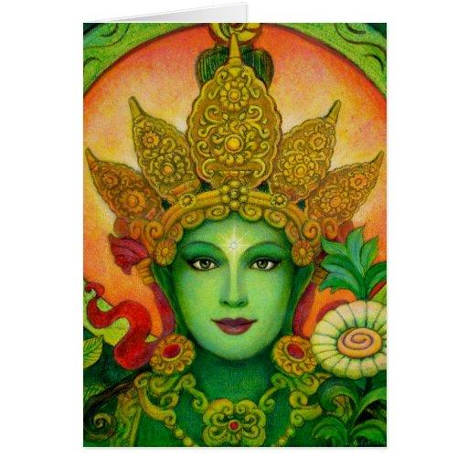 Tibetan Buddhist Goddess Green Tara Face art card
