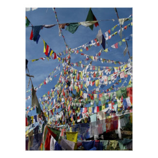 Tibetan Buddhist Prayer Flags Photo Poster