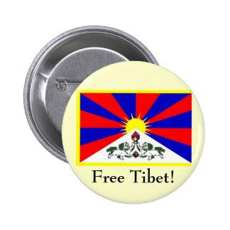Tibetan Flag - Free Tibet! 6 Cm Round Badge