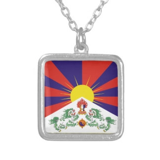 Tibetan Flag Silver Plated Necklace