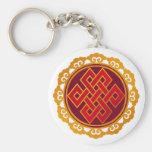 Tibetan Karma Buddhism Eternal Knot Basic Round Button Key Ring