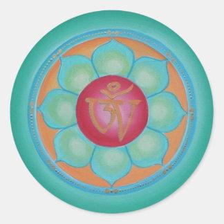 Tibetan Lotus Mandala Round Sticker