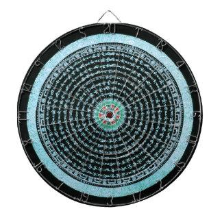 Tibetan Mandala Art (Turquoise & Black) Dartboard