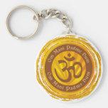 Tibetan Mantra with Aum Symbol Basic Round Button Key Ring