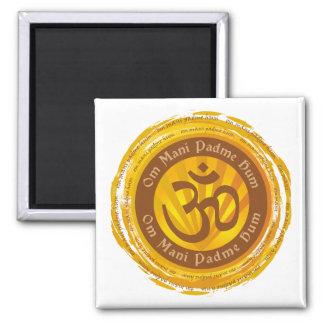 Tibetan Mantra with Aum Symbol Square Magnet