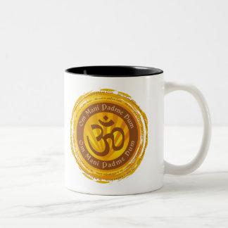 Tibetan Mantra with Aum Symbol Two-Tone Coffee Mug