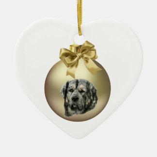 Tibetan Mastiff Ceramic Heart Decoration