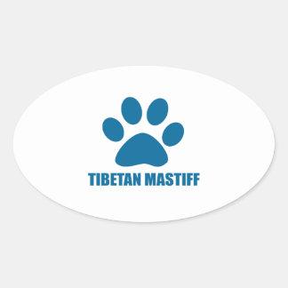 TIBETAN MASTIFF DOG DESIGNS OVAL STICKER
