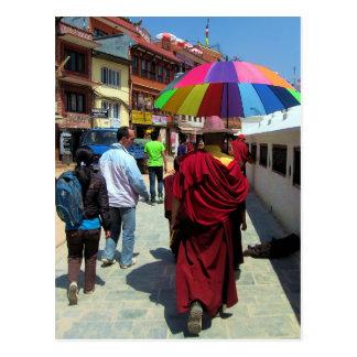 Tibetan Monk with Colorful Umbrella Postcard