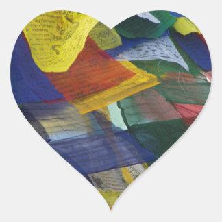 Tibetan Prayer Flags At Boudhanath Stupa Nepal Heart Sticker