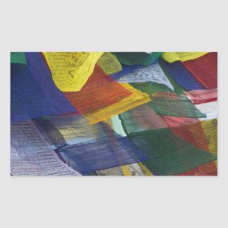 Tibetan Prayer Flags At Boudhanath Stupa Nepal Rectangular Sticker