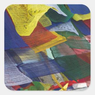 Tibetan Prayer Flags At Boudhanath Stupa Nepal Square Sticker