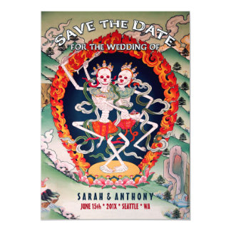 "Tibetan Skeletons Dancing Save the Date 5"" X 7"" Invitation Card"