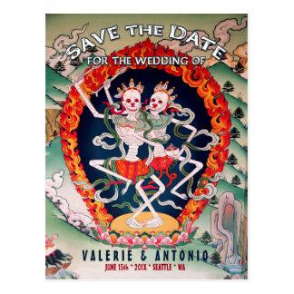 Tibetan Skeletons Dancing Save the Date Postcard