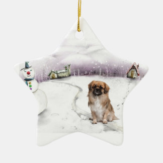 Tibetan Spaniel Christmas ornament