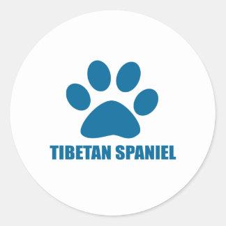 TIBETAN SPANIEL DOG DESIGNS CLASSIC ROUND STICKER