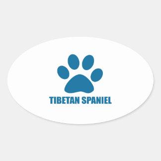TIBETAN SPANIEL DOG DESIGNS OVAL STICKER