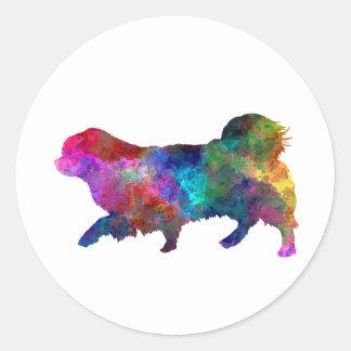 Tibetan Spaniel in watercolor Classic Round Sticker