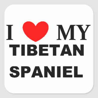 tibetan spaniel love square sticker