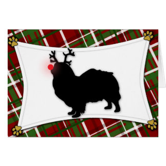 Tibetan Spaniel Reindeer Christmas Card