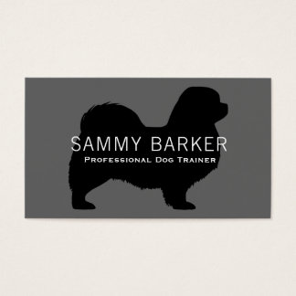 Tibetan Spaniel Silhouette Black on Grey Business Card