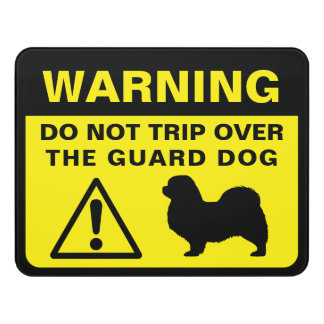 Tibetan Spaniel Silhouette Funny Guard Dog Warning Door Sign