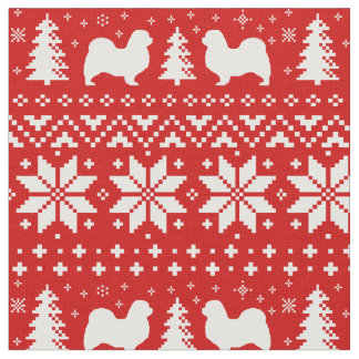 Tibetan Spaniel Silhouettes Christmas Pattern Fabric