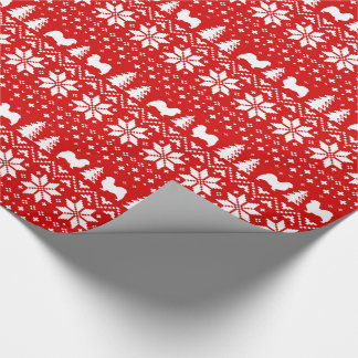 Tibetan Spaniel Silhouettes Christmas Pattern Red Wrapping Paper