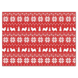 Tibetan Spaniel Silhouettes Christmas Pattern Tissue Paper