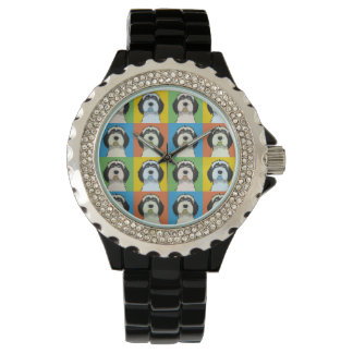 Tibetan Terrier Dog Cartoon Pop-Art Watch