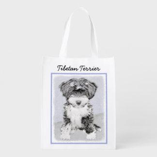 Tibetan Terrier Painting - Cute Original Dog Art Reusable Grocery Bag