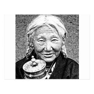 Tibetan Woman with prayer wheel Postcard