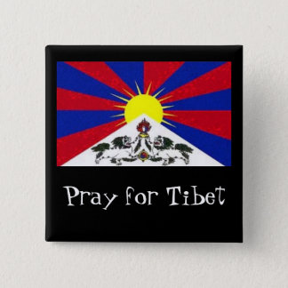tibetflag, Pray for Tibet 15 Cm Square Badge