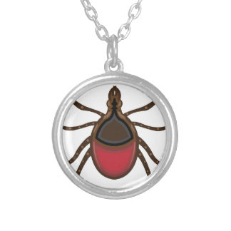Tick insect silver plated necklace