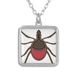Tick insect square pendant necklace