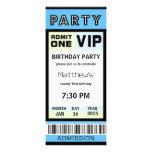 Ticket 21st Birthday Party Invitations Blue