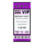 Ticket 21st Birthday Party Invitations Purple