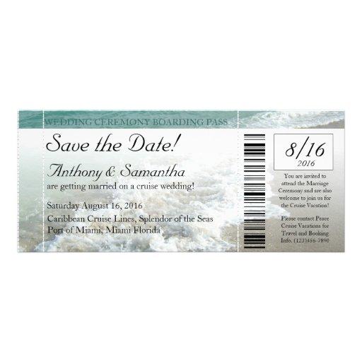 Ticket Save Date, Beach Destination Wedding Cruise Personalized Announcement