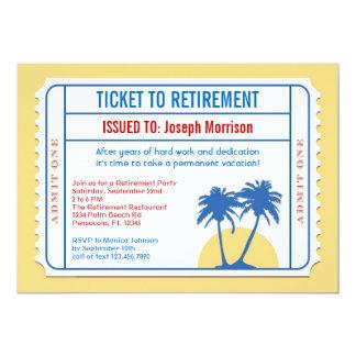 "Ticket Style Retirement Invitation 5"" X 7"" Invitation Card"