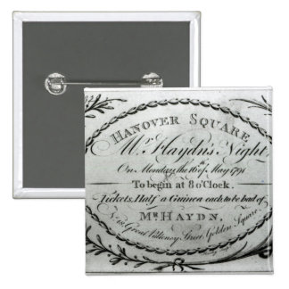 Ticket to 'Mr. Haydn's Night' in Hanover 15 Cm Square Badge