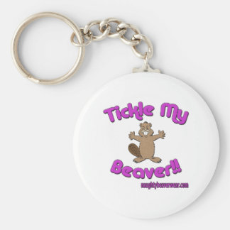 Tickle My Beaver Basic Round Button Key Ring